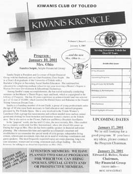 Kiwanis Kronicle January 3, 2001